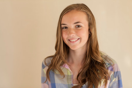 teenaged girl: Portrait of teenage girl with long brown hair,smiling