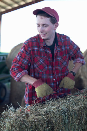 Young farmer lifting straw bale