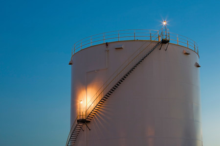 Gas storage tank at dusk,Montreal,Quebec,Canada
