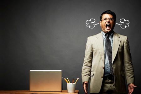 enraged: Man shouting and fuming