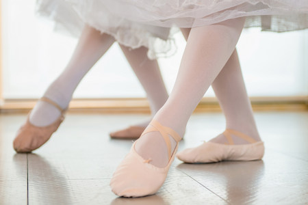low section: Ballerinas practising together,low section