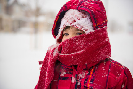 Girl wearing coat,scarf and hat with hood
