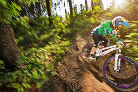 Mountain biker in motion