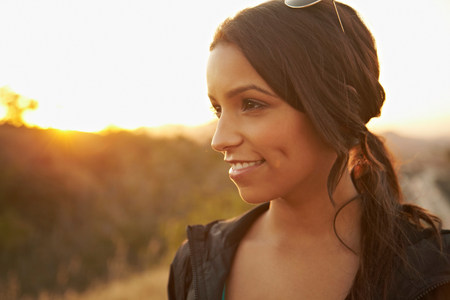 sunrises: Woman with dimpled smile