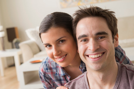 Portrait of couple smiling towards camera
