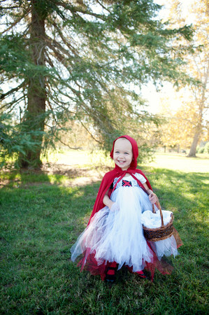 Female toddler in woods dressed up in red riding hood costume