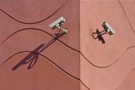 Security cameras on building exterior