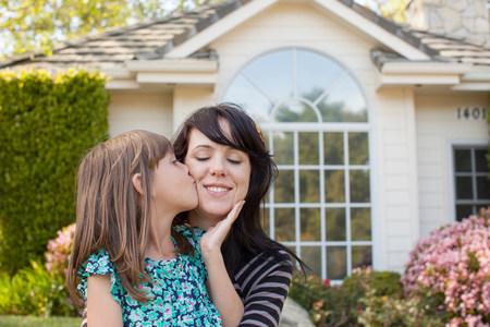 Portrait of daughter kissing mother on cheek in garden