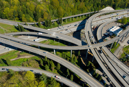 Aerial view of highway flyovers,Seattle,Washington State,USA