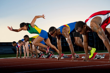 False start in race,woman running against men