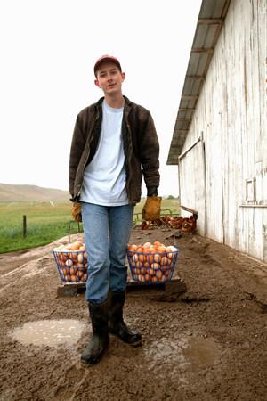 farmyards: Farmer carrying two baskets of eggs
