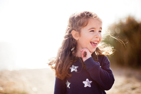 Portrait of girl looking away,laughing