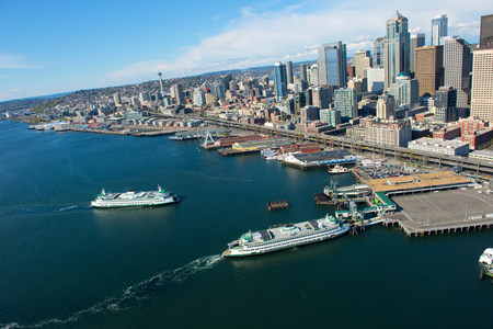 Aerial view of ferries and waterfront,Seattle,Washington State,USA