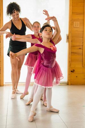 6 7 year old: Ballerinas practising with ballet teacher LANG_EVOIMAGES