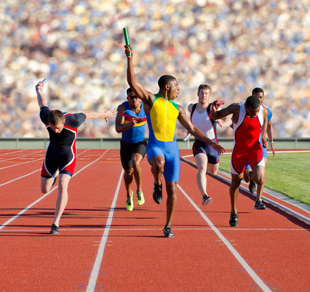 spandex: Six athletes running relay race