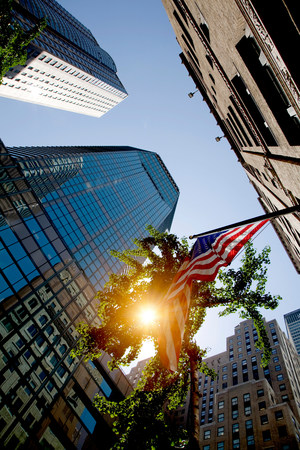 tallness: Skyscrapers and American flag,New York,New York State,USA