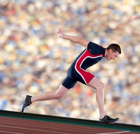 Athlete finishing race