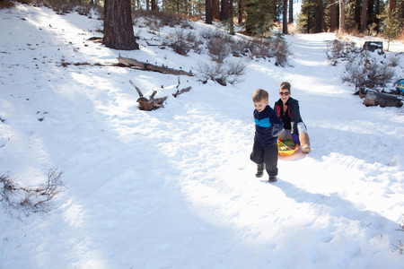 sit down: Toddler pulling abuela en trineo a través del bosque nevado LANG_EVOIMAGES