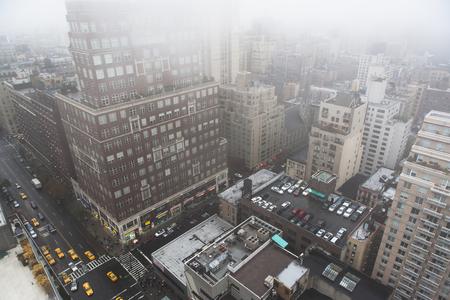 tallness: High angled cityscape in mist,New York City,USA