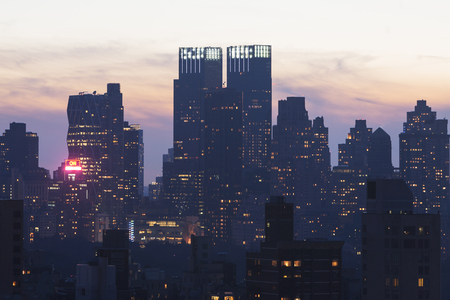 towerblock: Silhouetted cityscape,New York City,USA