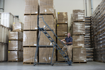 cardboard only: Man on ladders in warehouse with cardboard boxes LANG_EVOIMAGES