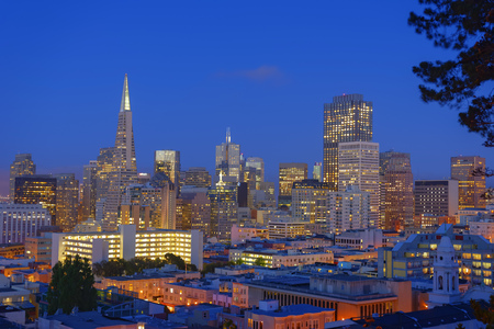 towerblock: Night cityscape, Downtown San Francisco, California, USA LANG_EVOIMAGES