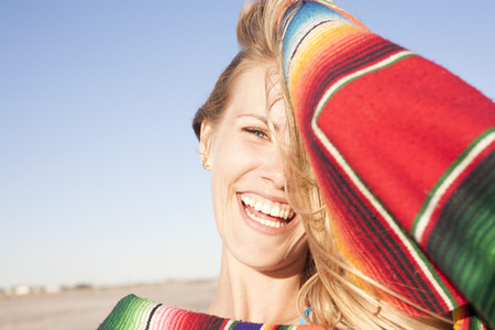 liberating: Portrait of young woman with blanket,Breezy Point,Queens,New York,USA