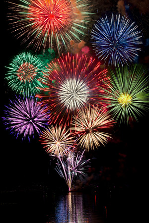 guy fawkes: Fireworks exploding in night sky