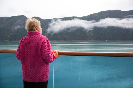 Senior woman on cruise ship,Alaska,USA