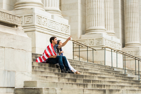 state of mood: Couple with American flag