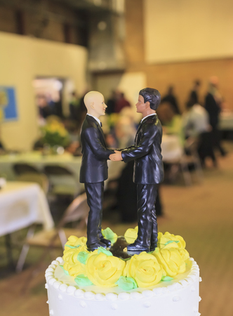 marrying: Pair of male figurines on top of wedding cake at reception