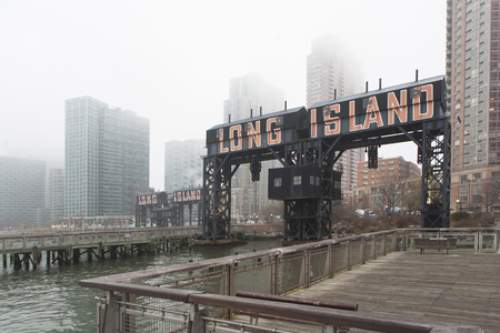 skylines: Long Island waterfront in mist,New York City,USA