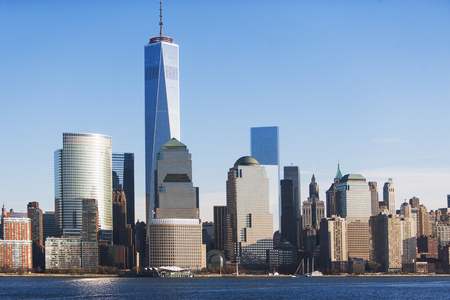 tallness: Manhattan cityscape and river, New York, USA