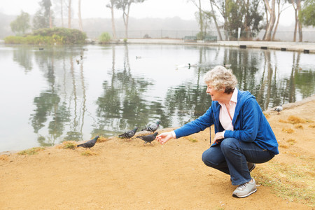 chillout: Senior woman feeding pigeons by the lake