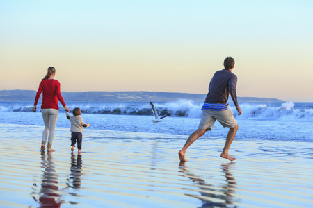 Family and toddler son playing on beach, San Diego, California, USA