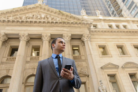 solicitors: Businessman in front of New York State Courthouse LANG_EVOIMAGES