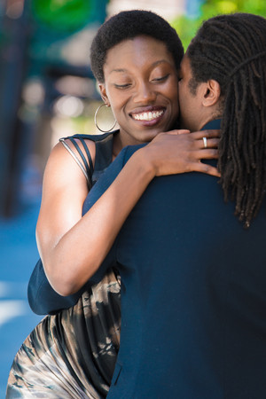 Close up of couple embracing
