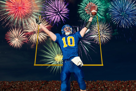 American football player celebrating with fireworks