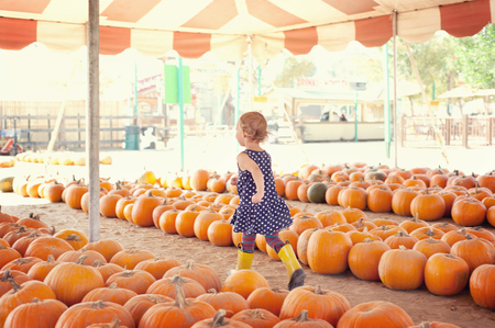 Girl running through pumpkins