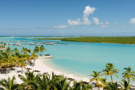 Beach and harbor resort, Providenciales, Turks and Caicos Islands, Caribbean LANG_EVOIMAGES