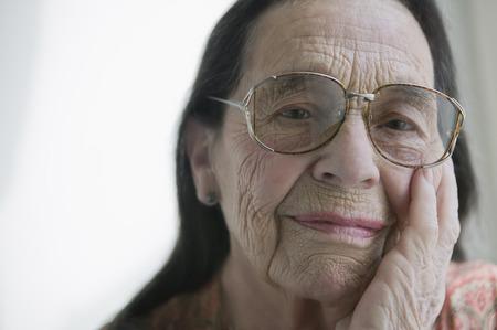 ponderous: Senior woman wearing glasses