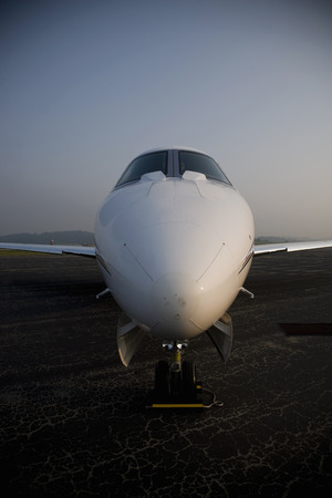 Close up of stationary private jet LANG_EVOIMAGES