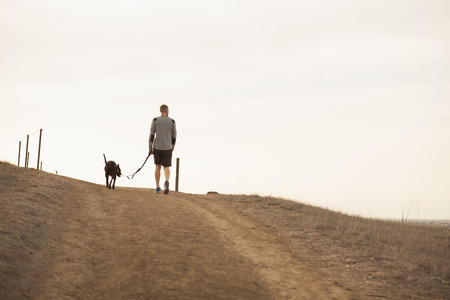 pooches: Man walking dog LANG_EVOIMAGES