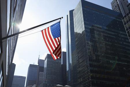 tallness: American flag and office buildings, Manhattan, New York, USA