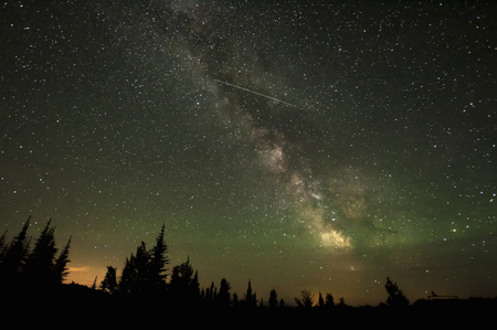 way out: Milky way and shooting star, Osoyoos, British Columbia, Canada