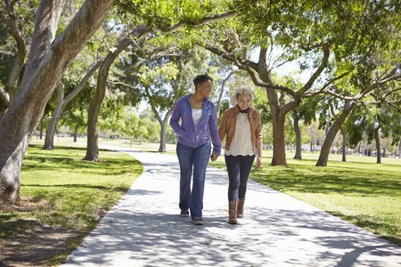 walking paths: Lesbian couple holding hands and strolling in park