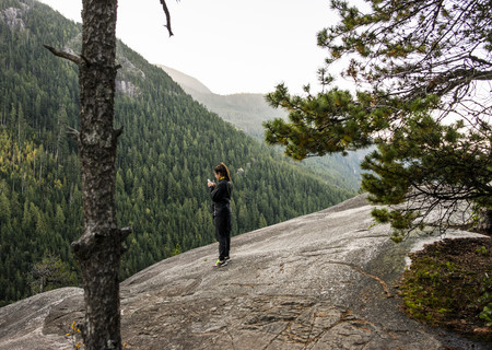 species living: Young woman looking at smartphone, Squamish, British Columbia, Canada