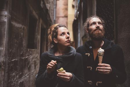venice: Couple with gelato in dark alley, Venice, Italy