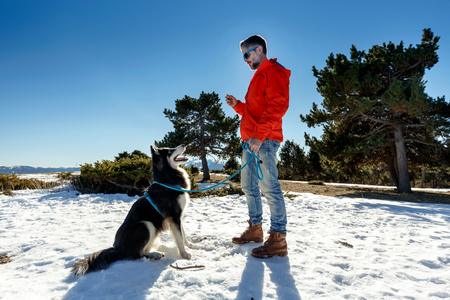 one mature man only: Mature man training dog in snow covered landscape