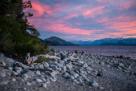 On the shore of the Nahuel Huapi Lake in Patagonia LANG_EVOIMAGES